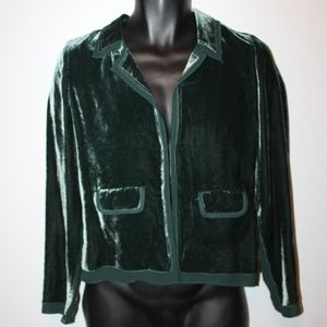 J Crew Crushed Velvet Jacket NEW size 2 Green Top